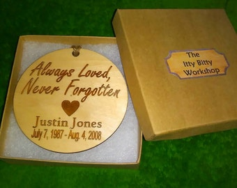 Memory Of - Always Loved Never Forgotten Engraved Christmas Ornament