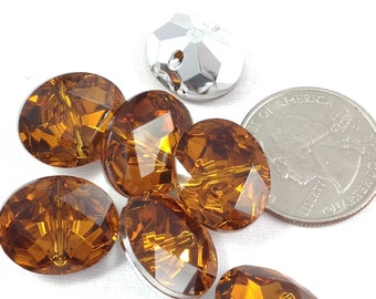 Gold Faceted Plastic buttons, Orange and silver buttons, Oval two-hole buttons, decorative thick buttons, shiny buttons, 7 Buttons