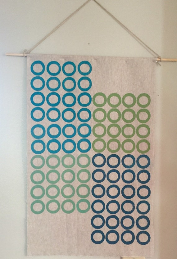Modern retro wall art-handmade contemporary block printed textile wall hanging