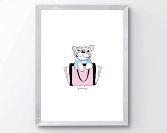 Frenchie Pup Print, Frenchie Pup Art, French Dog print, Chloe bag Art, Fashion Print, Nursery Art, Wall Art, Wall Decor, Home Decor