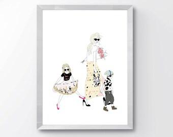 Modern Custom Family Illustration - Custom Family Illustrations - Custom Fashion Portraits - Custom Family Art - Mothers Day Gift Idea