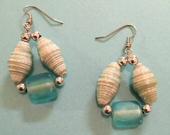 SALE!! Light Turquoise Blue Paper Bead Earrings