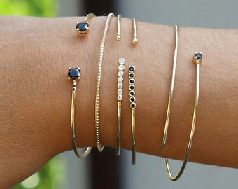 gold BANGLE- boho chic gold bangle-Gold plated silver bangle-dainty bracelet-Gold Cuff Bracelet, black cz open bangle