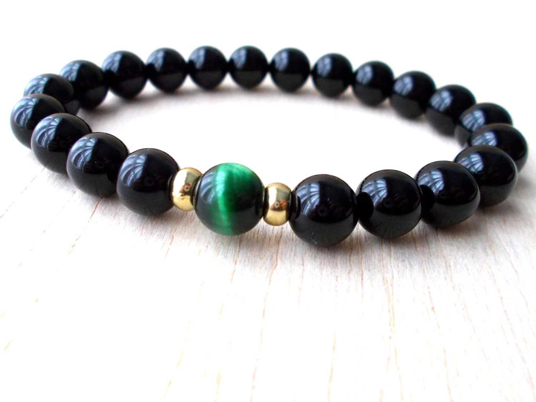 mens black onyx bracelet mens wrist mala bracelet by