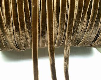 1/4 inch Vintage Velvet Coffee Brown Ribbon(10 Yards)