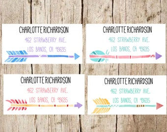 arrow return address labels ,address labels, address stickers,arrow,boho,watercolor stickers, customized stickers, address labels,