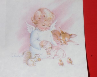 Vintage Cherub Angel Christmas Card by Eve Rockwell, Unused Christmas Card, Parchment Stock Christmas Card