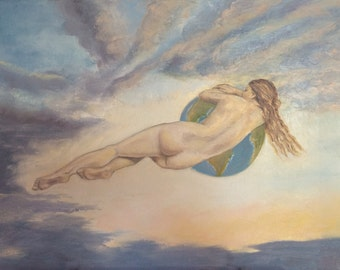 Flying Woman Holding Planet Earth