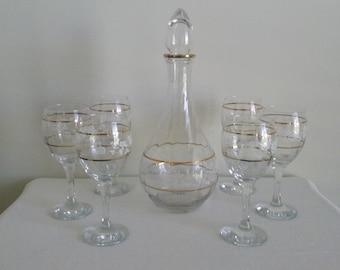 Vintage Wine Decanter and Stemware Set