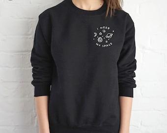 I Need My Space Sweater Jumper Top Fashion Sweatshirt Grunge Pocket Cute