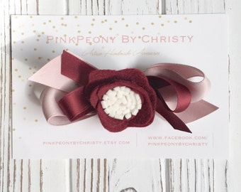 Burgundy felt flower headband - felt flower hairbow - fall hairbow - holiday felt hairbow - burgundy flower hairbow - burgundy and pink