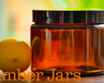 6 x 500ml Glass Amber Jars with black wadded lid
