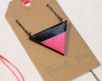 Wood and Paper Necklace, pink, black, green and grey.