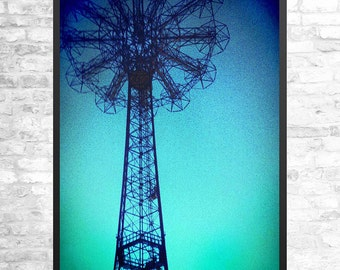 Coney Island Parachute Jump, printable wall art, Brooklyn photography, New York art