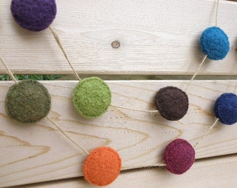 Felted Wool Stuffed Rounds Garland, Stuffed Circles, Hand Knit, Eight Feet: Multicolored