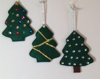 Christmas Ornaments, Felt Christmas Trees,Set of 3,Christmas Decorations, Felt Ornaments,Christmas Decor,Felt Christmas Tree CTO106