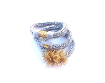 Set of 3 handknitted Bangles, Bracelets, hand knitted jewelry, crochet jewelry, fiber , textile jewelry, , gray, gold, boho, hippie, gypsy,