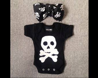 Skeletots baby girl skull n bones black bodysuit & bow headband rock 0-3m to 18m