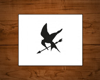 x2 sizes! The Hunger Games inspired Mockingjay #2 machine embroidery design file in 9 formats **** instant download