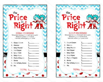 Dr Seuss Thing 1 Thing 2 Baby Shower Price Is Right Game