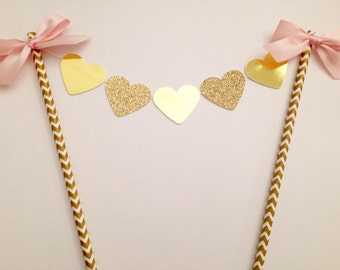 Pink and gold glitter heart cake topper, Bridal shower cake topper, birthday and wedding cake bunting