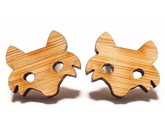 Fox Bamboo Stud Earrings // Fox Earrings / Fox Stud Earrings / Fox Studs / Woodland Earrings / Wooden Earrings / Foxy Earrings / Wild