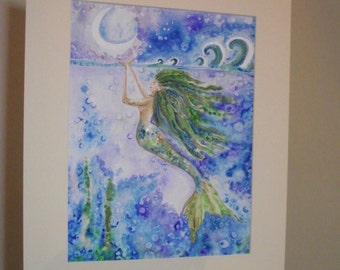 Mermaid painting, mermaid art, ART SALE, mermaid picture, watercolour mermaid, mermaid, fantasy art, mythical art, crescent moon