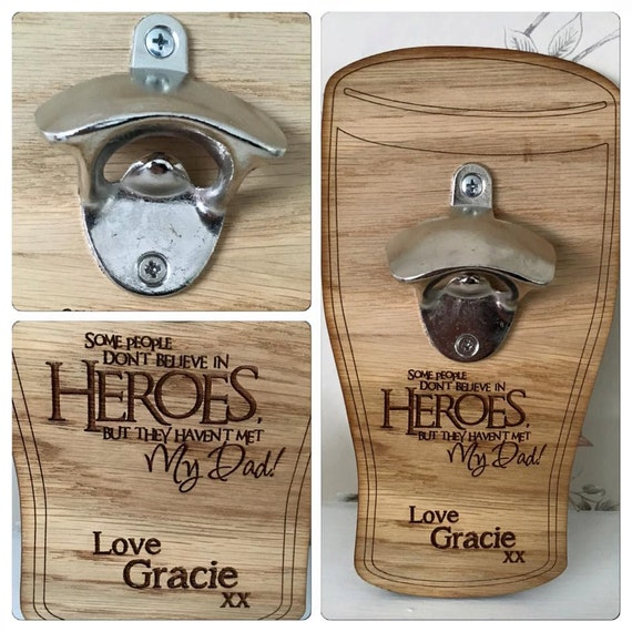wooden wall mounted bottle opener engraved and personalised. Black Bedroom Furniture Sets. Home Design Ideas