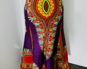 Collette Purple Angelina African Wax Trumpet Skirt, Long Dashiki Skirt, Midi Length Dashiki Skirt  - Made to Order