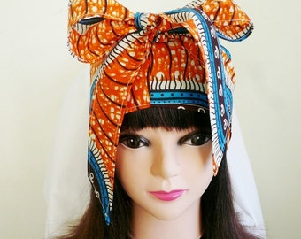 Orange and Blue Ankara Jiffy Head Wrap, African Wax Headtie, Stylish Hair Accessory