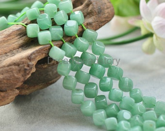 Diagonally Drilled Natural Green Aventurine Cube Beads, 10mm Semi Precious Stone Loose Spacer Beads (JY91)