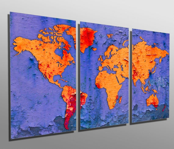 3 Panel Split Art World Map Canvas Print Triptych For: Metal Print Flake World Map 3 Panel Split Triptych