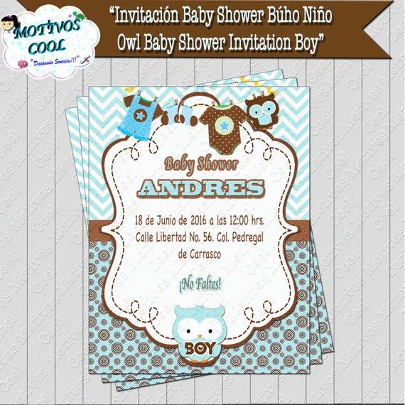 Artículos Similares A Invitación Baby Shower Niño, Invitación Para Baby  Shower De Niño Con Búho En Azul Y Café En Etsy
