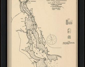 Providence River, Rhode Island - Nautical Chart by George W. Eldridge 1901