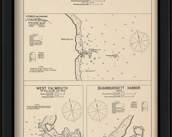 Nonquitt, West Falmouth & Quamquissett Harbors, MA - Nautical Chart by George W. Eldridge 1901