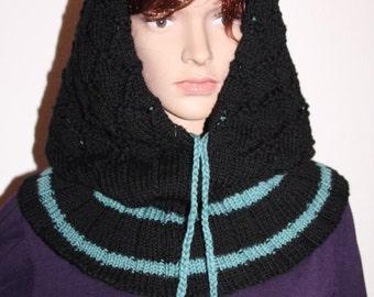 Hooded scarf, knit, black, petrol