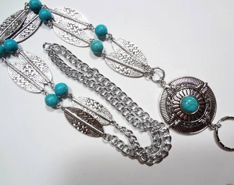Turquoise Lanyard, Silver Chain Lanyard,  Beaded Badge Holder, Lanyard Id Holder, Beaded Badge Holder, Breakaway option