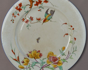 French Antique Bordeaux & Vieillard Majolica Dinner Plate -19th.c - Birds NELLA - French Kitchen Decor Country Cottage