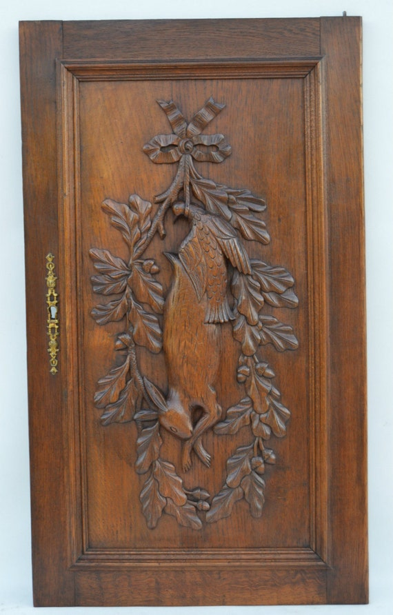 French antique carved oak wood door hunting trophy panel