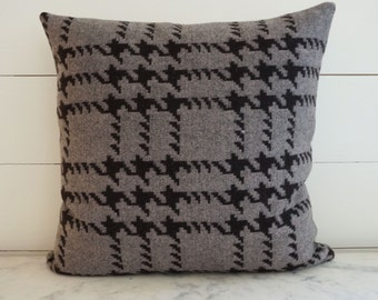 Gray and Black Wool Houndstooth Modern Pillow Cover 20x20