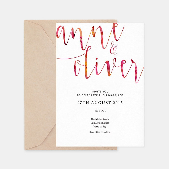 Pink wedding invitation printable, Printable wedding invites, Wedding stationery, Romantic wedding invites, Watercolour wedding invitation