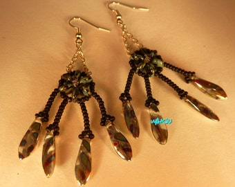 Earrings 'dream catcher' glass beads