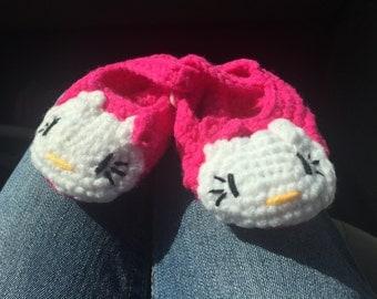 Handmade Infant Hello Kitty Crib Shoes