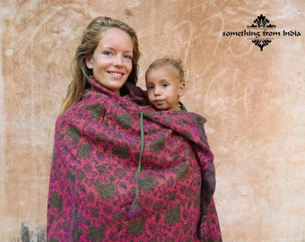 Babywearing Poncho coat wool shawl on top of a baby carrier