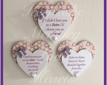Gift for Sister wooden heart magnets set of 3