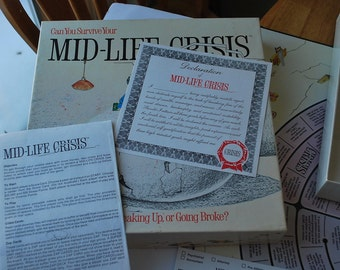 Vintage (c.1982) Mid-life Crisis board game published by The Game Works Inc.  Super condition and complete.