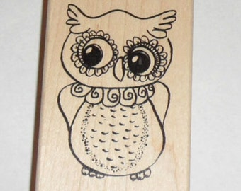"CURIOUS OWL Rubber STAMP Wood Mounted 3"" new"