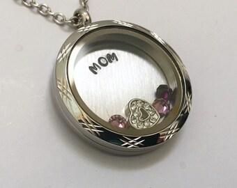 MOM - Floating Charm Locket - Memory Locket - Custom Hand Stamped Gift