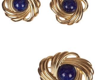 Lanvin Retro Design Inspired Earring and Pin Set