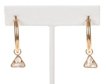 14 kt Gold Hoop Earrings with Triangular Cubic Zirconia Drop